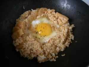 Egg Nest in the wok